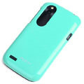 ROCK Colorful Glossy Cases Skin Covers for HTC T328W Desire V - Blue (High transparent screen protector)