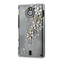 Bling Flower Crystals Hard Cases Covers for Sony Ericsson MT27i Xperia sola - White