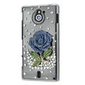 Bling Rose Crystals Hard Cases Covers for Sony Ericsson MT27i Xperia sola - Blue