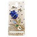 Bling Rose Crystals Hard Cases Covers for Sony Ericsson ST25i Xperia U - Blue