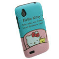 Cartoon Hello kitty Matte Hard Cases Skin Covers for HTC T328W Desire V - Blue