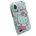 Cartoon Hello kitty Matte Hard Cases Skin Covers for HTC T328W Desire V - White