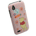 Cartoon Winnie the Pooh Matte Hard Cases Skin Covers for HTC T328W Desire V - Pink
