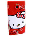 Hello kitty Matte Hard Cases Covers for Sony Ericsson MT27i Xperia sola - Red