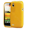 Tourmate Glitter Soft Cases Skin Covers for HTC T328W Desire V - Yellow (High transparent screen protector)