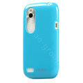 Tourmate Glossy Soft Cases Skin Covers for HTC T328W Desire V - Blue (High transparent screen protector)