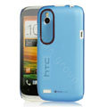 Tourmate Thin Hard Skin Cases Covers for HTC T328W Desire V - Blue (High transparent screen protector)