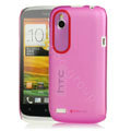 Tourmate Thin Hard Skin Cases Covers for HTC T328W Desire V - Pink (High transparent screen protector)