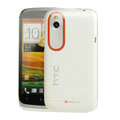 Tourmate Thin Hard Skin Cases Covers for HTC T328W Desire V - White (High transparent screen protector)