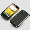 Tourmate Thin Soft Skin Cases Covers for HTC T328W Desire V - Black (High transparent screen protector)