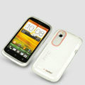 Tourmate Thin Soft Skin Cases Covers for HTC T328W Desire V - White (High transparent screen protector)