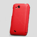 Nillkin leather Cases Holster Covers for HTC T328d Desire VC - Red (High transparent screen protector)