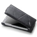 ROCK Flip leather Cases Holster Skin for Sony Ericsson LT26i Xperia S - Black
