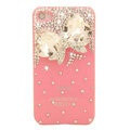 Bling Bowknot Crystal Cases Diamond Covers for iPhone 4G/4S - White
