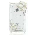 Bling Camellia Crystal Hard Cases Diamond Covers for iPhone 3G/3GS - White