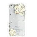 Bling Camellia Flower Crystal Cases Diamond Covers for iPhone 4G/4S - Transparent White