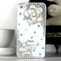 Bling Camellia Flower Crystal Cases Diamond Covers for iPhone 4G/4S - White