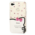 Bling Hello kitty Crystal Cases Diamond Pearl Covers for iPhone 4G/4S - White