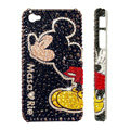 Bling Swarovski crystal cases Mickey Mouse diamond covers for iPhone 4G/4S - Black