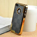 Luxury LV LOUIS VUITTON Ultrathin Metal edge Hard Back Cases Covers for iPhone 4G - Black