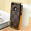 Luxury LV LOUIS VUITTON Ultrathin Metal edge Hard Back Cases Covers for iPhone 4G - Brown