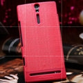 Nillkin Retro Style leather Cases Holster Covers for Sony Ericsson LT26i Xperia S - Red (High transparent screen protector)