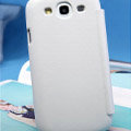 Nillkin leather Cases Holster Covers for Samsung Galaxy SIII S3 I9300 I9308 - White (High transparent screen protector)