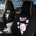 FORTUNE Pleasant Happy Goat Autos Car Seat Covers for 2007 Honda Fit - Black