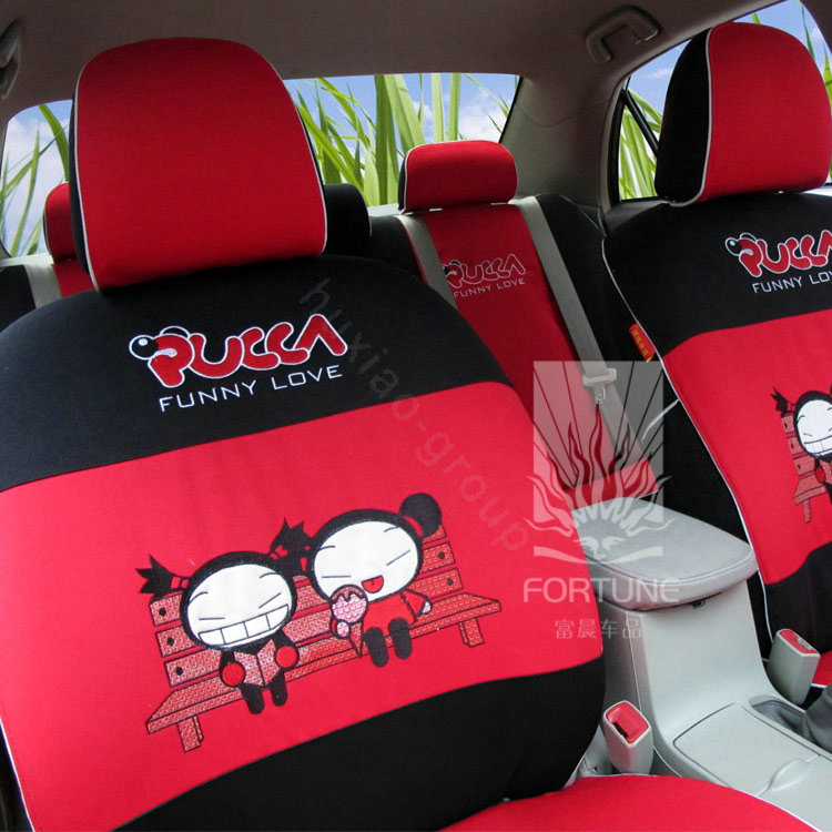 buy wholesale fortune pucca funny love autos car seat covers for 2011 honda fit red from. Black Bedroom Furniture Sets. Home Design Ideas