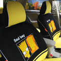 FORTUNE Bad Boy Autos Car Seat Covers for 2009 Toyota Highlander 7 Seats - Black