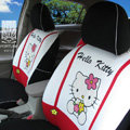 FORTUNE Hello Kitty Autos Car Seat Covers for 2007 Toyota Highlander 7 Seats - White