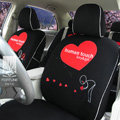 FORTUNE Human Touch Heart Bike Autos Car Seat Covers for 2001 Toyota Highlander 7 Seats - Black