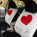 FORTUNE Human Touch Heart Bike Autos Car Seat Covers for 2009 Toyota Yaris 4-Door Sedan - White