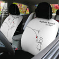 FORTUNE Human Touch Heart tree Autos Car Seat Covers for 2007 Toyota Highlander 7 Seats - White