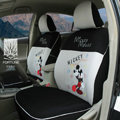 FORTUNE Mickey Mouse Autos Car Seat Covers for 2009 Toyota Highlander 7 Seats - Gray