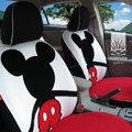 FORTUNE Mickey Mouse Autos Car Seat Covers for 2009 Toyota Highlander 7 Seats - White