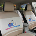 FORTUNE Snoopy Friend Autos Car Seat Covers for 2009 Toyota Yaris 4-Door Sedan - Coffee