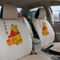 FORTUNE Winnie The Pooh Autos Car Seat Covers for 2009 Toyota Highlander 5 Seats - Apricot