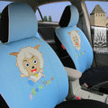 FORTUNE Pleasant Happy Goat Autos Car Seat Covers for 2011 Toyota Highlander 7 Seats - Blue