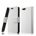 IMAK Slim leather Cases Luxury Holster Covers for Sony Ericsson ST27i Xperia Go - White