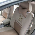 FORTUNE Honda Logo Gem velvet Autos Car Seat Covers for Honda Civic EX Hatchback - Beige