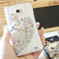 Bling Ballet girl Crystal Cases Pearls Covers for Samsung i9100 i9108 i9188 Galasy S2 SII - White