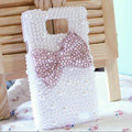 Bling Bow Crystal Cases Pearls Covers for Samsung i9100 i9108 i9188 Galasy S2 SII - Pink