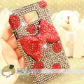 Bling Bow Crystal Cases Pearls Covers for Samsung i9100 i9108 i9188 Galasy S2 SII - Red