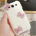 Bling Bowknot Crystal Case Pearls Covers for Samsung Galaxy SIII S3 I9300 I9308 I939 I535 - Pink