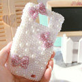 Bling Bowknot Crystal Cases Pearls Covers for Samsung i9100 i9108 i9188 Galasy S2 SII - Pink