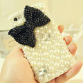 Bling Bowknot Crystal Cases Pearls Covers for iPhone 4G/4S - Black