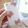 Bling Bowknot Crystal Cases Pearls Covers for iPhone 4G/4S - Pink