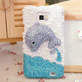 Bling Dolphin Crystal Cases Pearls Covers for Samsung i9100 i9108 i9188 Galasy S2 SII - Blue