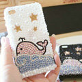 Bling Dolphin Crystal Cases Pearls Covers for iPhone 4G/4S - White